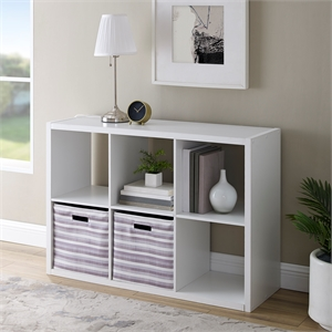 Riverbay Furniture Six Cubby Wood Storage Cabinet in White
