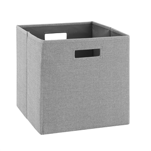 Riverbay Furniture Two Pack Fabric Stripe Storage Bin in Gray