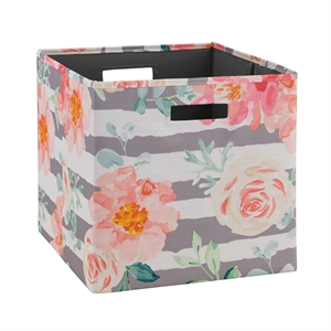 Riverbay Furniture Two Pack Fabric Floral Storage Bin in Pink