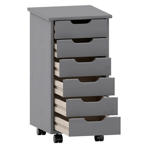 Riverbay Furniture Six Drawer Wood Rolling Storage Cart in Gray
