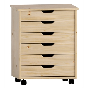 Riverbay Furniture Six Drawer Wide Wood Rolling Cart in Natural