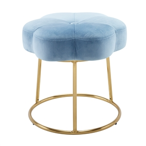 Riverbay Furniture Metal Upholstered Accent Vanity Stool in Blue