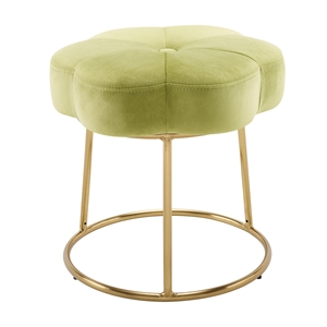 Riverbay Furniture Metal Upholstered Accent Vanity Stool in Green