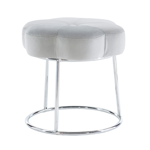 Riverbay Furniture Metal Upholstered Accent Vanity Stool in Gray