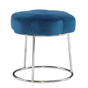 Riverbay Furniture Metal Upholstered Accent Vanity Stool in Navy Blue