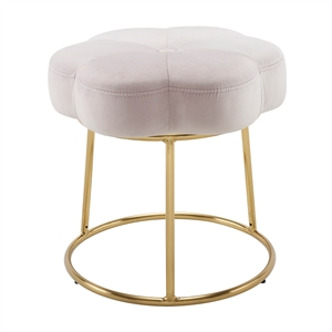 Riverbay Furniture Metal Upholstered Accent Vanity Stool in Pink