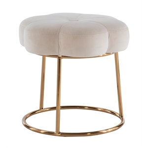 Riverbay Furniture Metal Upholstered Accent Vanity Stool in White