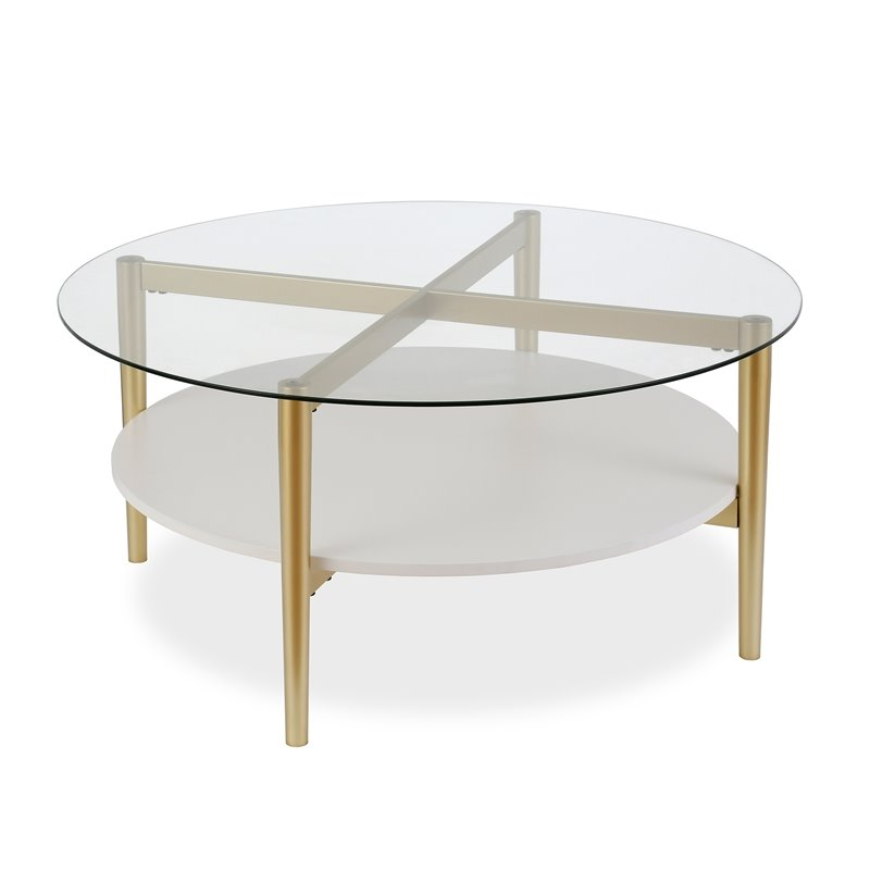 Circular White Lacquer Coffee Table