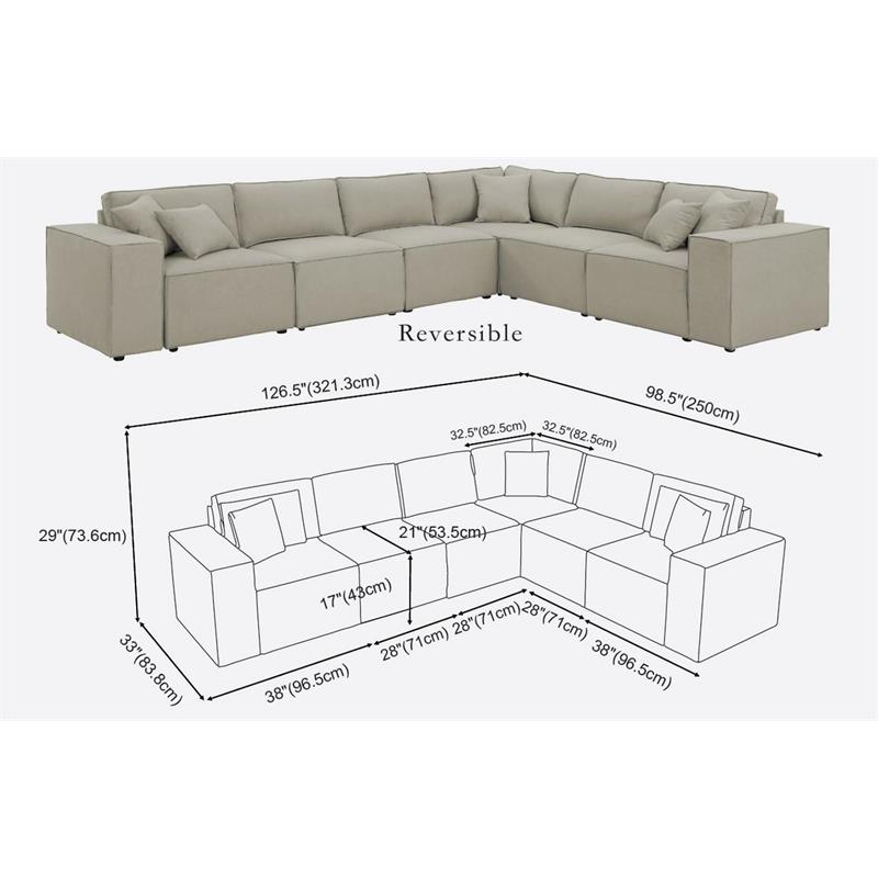Admirable Lilola Janelle Modular Sectional Sofa In Beige Linen Caraccident5 Cool Chair Designs And Ideas Caraccident5Info