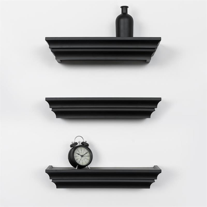 kieragrace KG Contemporary  Madison Wall Shelves Set of 3 Black Engineered Wood
