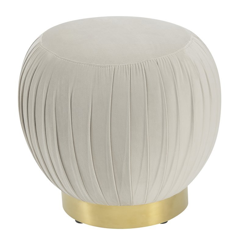 Jamison Taupe and Brass Round Ottoman