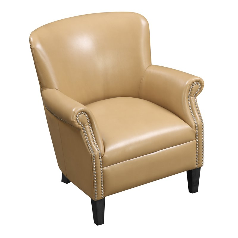 Remarkable Oscar Saddle Faux Leather Accent Chair With Nailhead Trim Inzonedesignstudio Interior Chair Design Inzonedesignstudiocom
