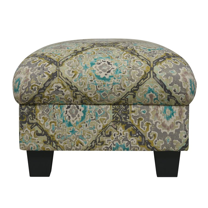 Emerald Home Carter Gold Ottoman with Fixed Cushion And Wood Legs