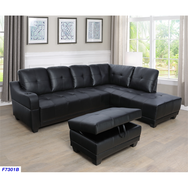 Tremendous Bluebell Faux Leather Sectional Sofa With Ottoman Black Unemploymentrelief Wooden Chair Designs For Living Room Unemploymentrelieforg