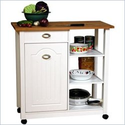Venture Horizon Double Butcher Block Mobile Island Bin in White