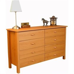 Venture Horizon Nouvelle 8 Drawer Lowboy Double Dresser in Oak