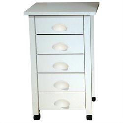 Venture Horizon 5 Drawer Mobile Wood Filing Cabinet in White Finish