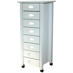 Venture Horizon 8 Drawer Mobile Wood Filing Cabinet in White Finish