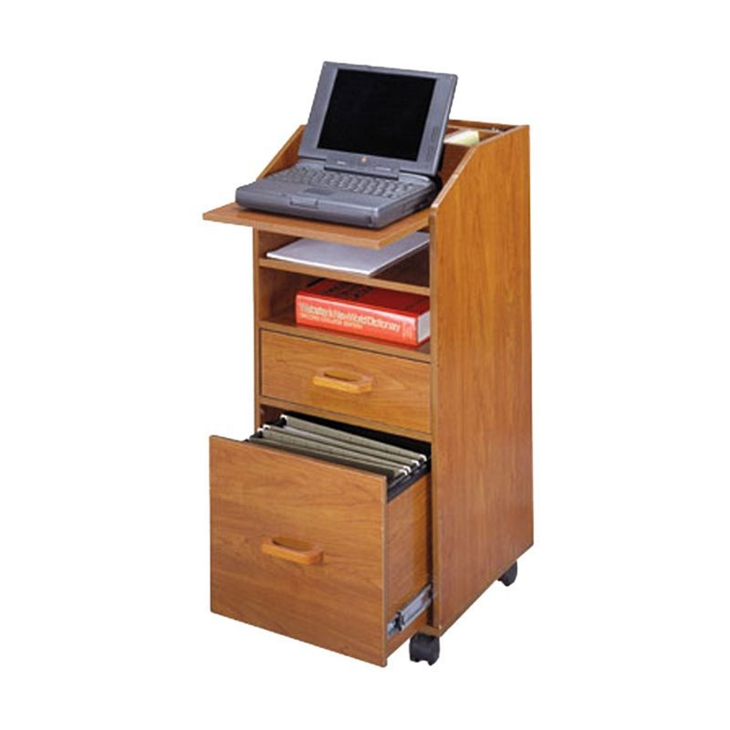 Wood Laptop Cart with File Storage in Cherry