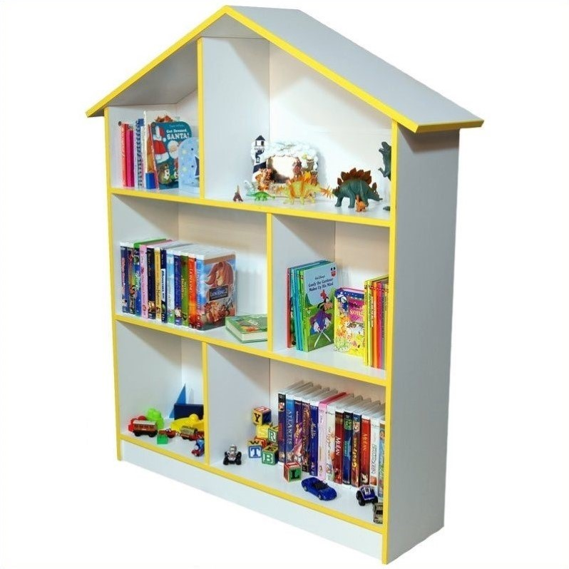 Kids Dollhouse Bookcase in White