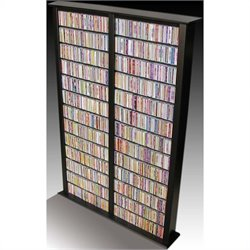 Venture Horizon Double 76-Inch Tall CD DVD Wall Rack Media Storage - Black