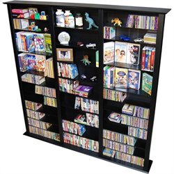 Venture Horizon Triple 76-Inch Tall CD DVD Wall Rack Media Storage - Black