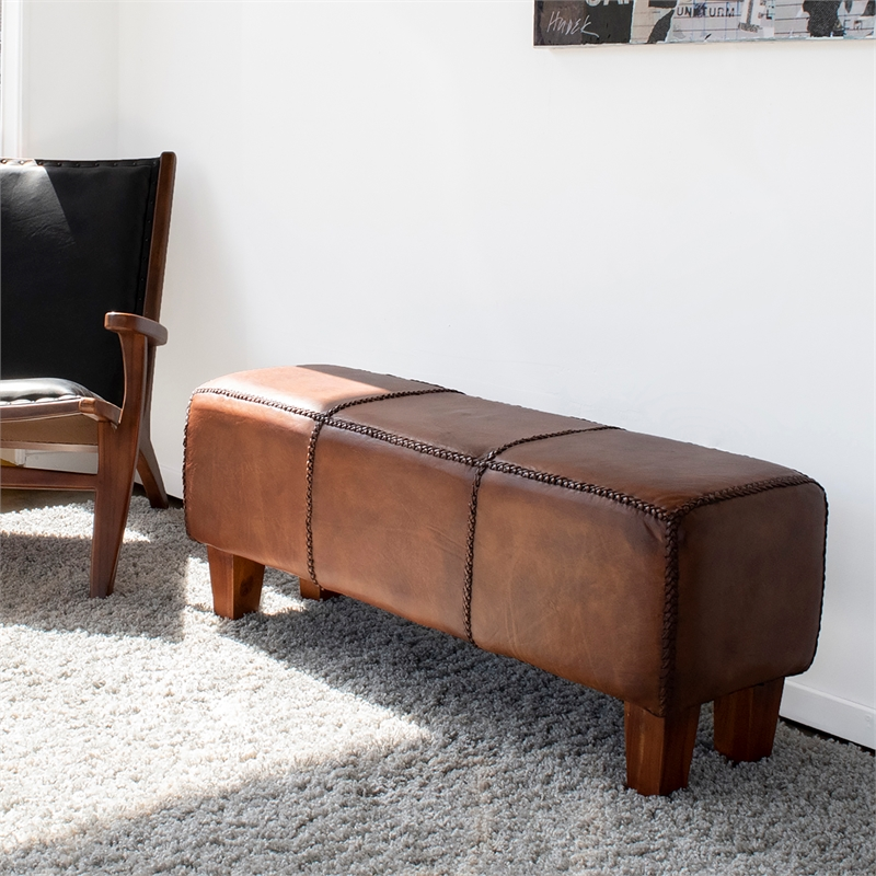 Allora Mid-Century Modern Genuine Leather Bench in Brown
