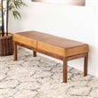 Allora Mid-Century Modern Genuine Leather Bench in Tan Brown