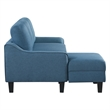 Lester Chaise Sleeper Sofa in Blue fabric with Black legs