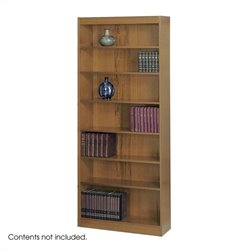 Safco 7-Shelf Square-Edge Veneer Bookcase in Medium Oak