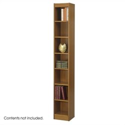Safco 12 Inch Wide 7-Shelf Veneer Baby Bookcase in Medium Oak