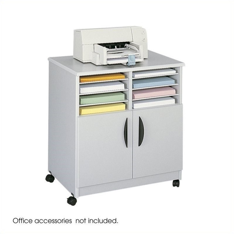 Safco Mobile Stand with Sorter in Gray