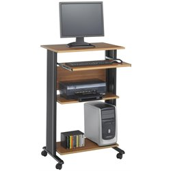 Safco MÜV Standing Wood Workstation in Medium Oak