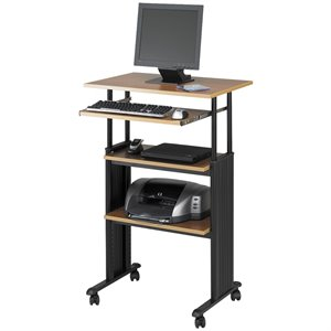 Safco MÜV Standing Height Adjustable Wood Workstation in Medium Oak