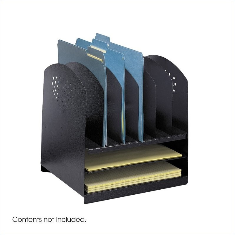 Safco Black Combination Steel Desk Rack with 6 Vertical and 2 Horizontal Sections