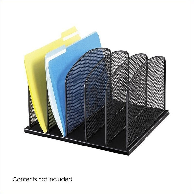 Onyx black mesh desk organizer with 5 upright sections - Black mesh desk organizer ...