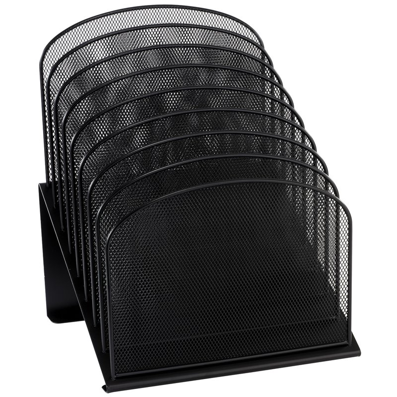 Onyx black mesh desk organizer with 8 slanted sections - Black mesh desk organizer ...