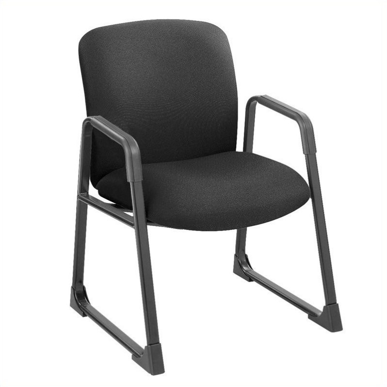 Big and Tall Guest Chair in Black with Sled Base