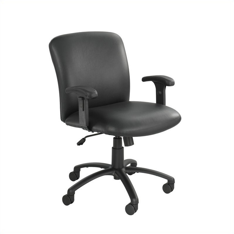 Safco Uber Big and Tall Mid Back Armless Task Office Chair in Black Vinyl