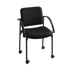 Safco Moto Mobile Stackable Chair in Black (Set of 2)