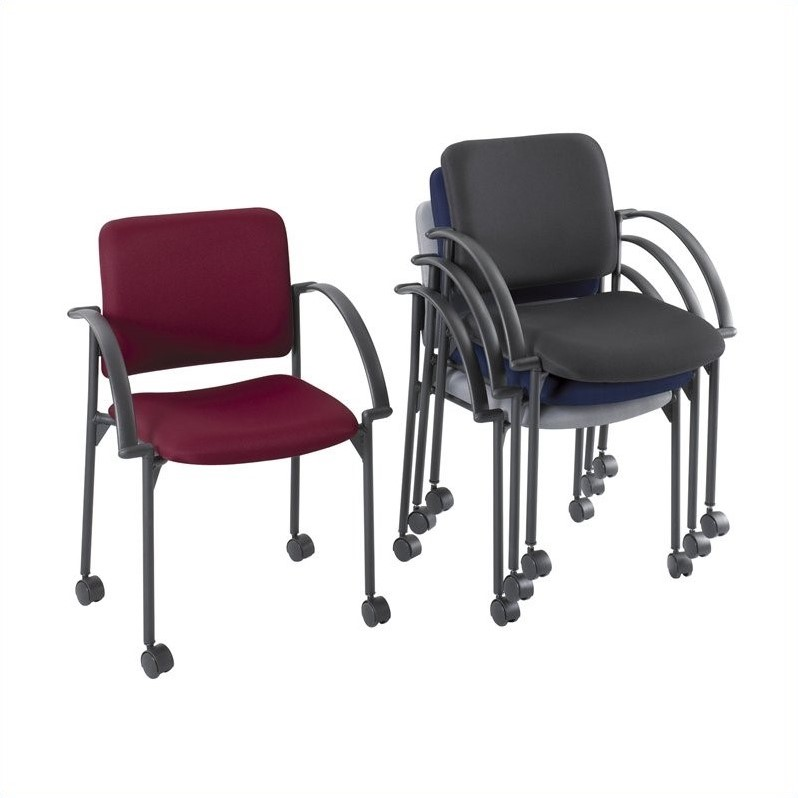 Safco Moto Mobile Stacking Chair in Charcoal (Set of 2)