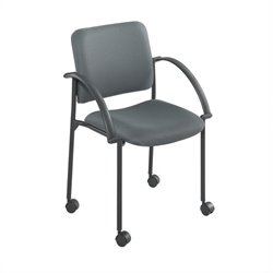 Safco Moto Mobile Stackable Chair in Charcoal (Set of 2)