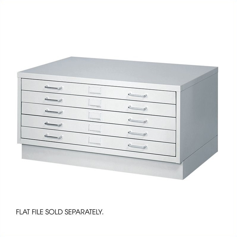 Safco 5 Drawer Small Metal Flat Files Cabinet in Light Gray