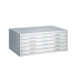5 Drawer Small Metal Flat Files Cabinet in Light Gray