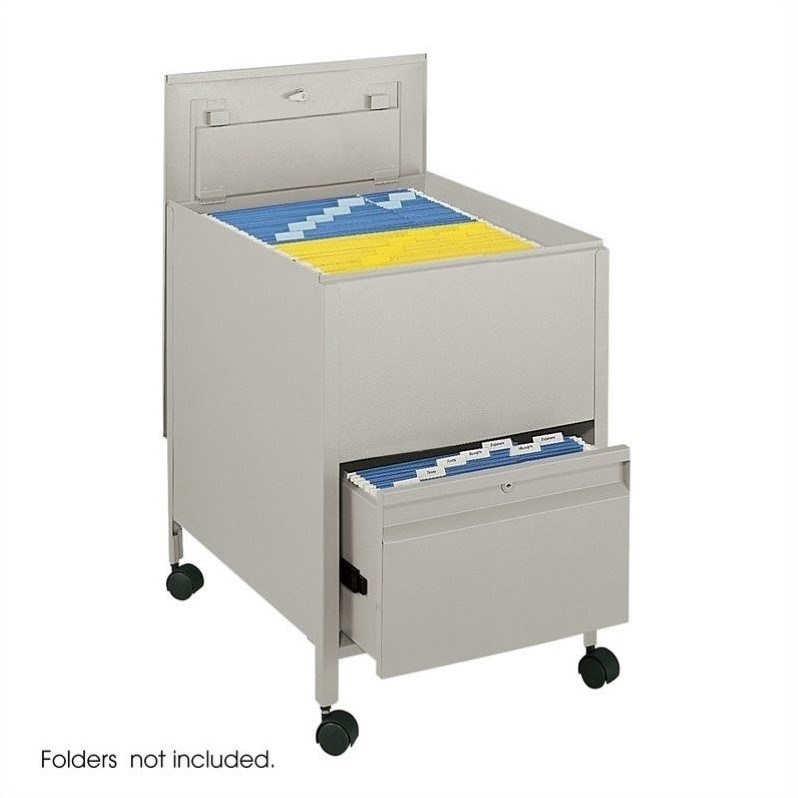 Locking Mobile Legal Size Metal Tub File with 1 Drawer in Putty
