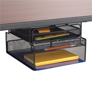 Safco Onyx Mountable Hanging Desk Organizer in Black
