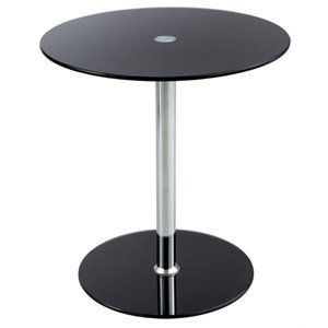 Safco Round Glass Top End Table