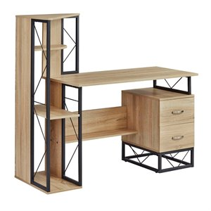 Safco Products SOHO Storage Desk with Shelving and 2-Drawer Pedestal