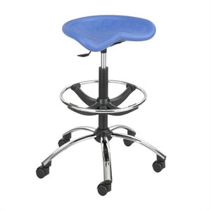 Blue Drafting Chair with Chrome Base