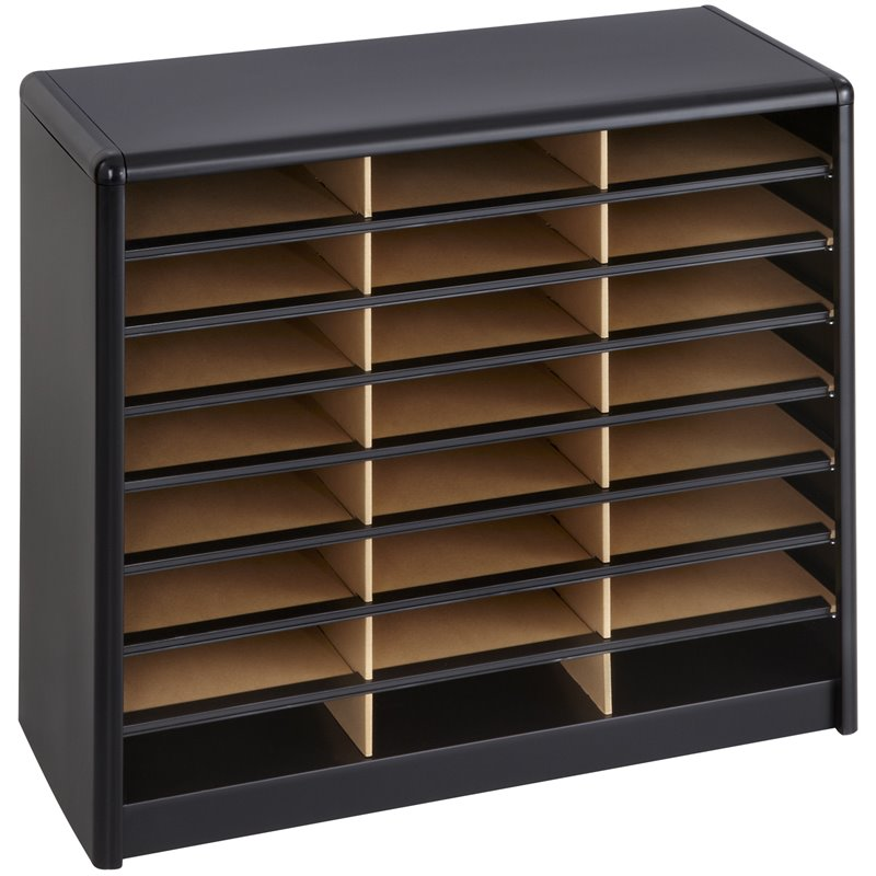 24 Compartment Value Sorter Metal Flat Files Organizer in Black